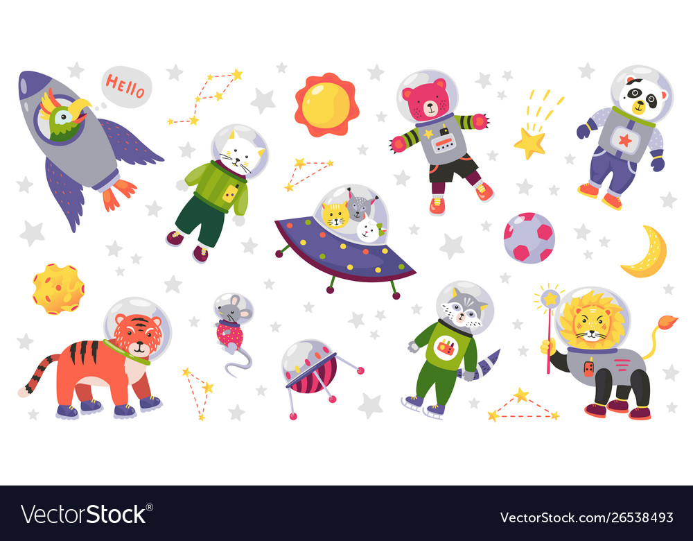 Space animal kids cartoon bacharacters in