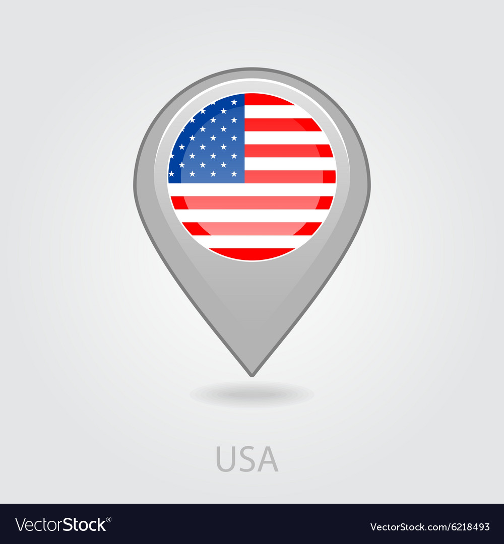 united states of america flag pin map icon vector image