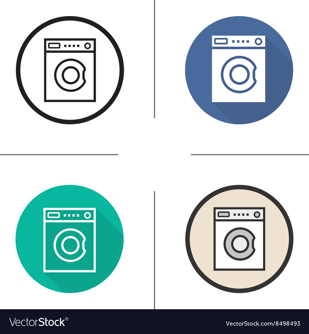 Washing machine flat design linear and color