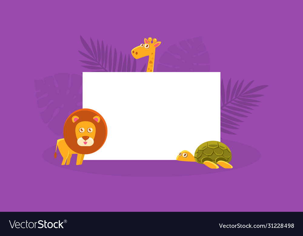 African animals holding white empty banner cute