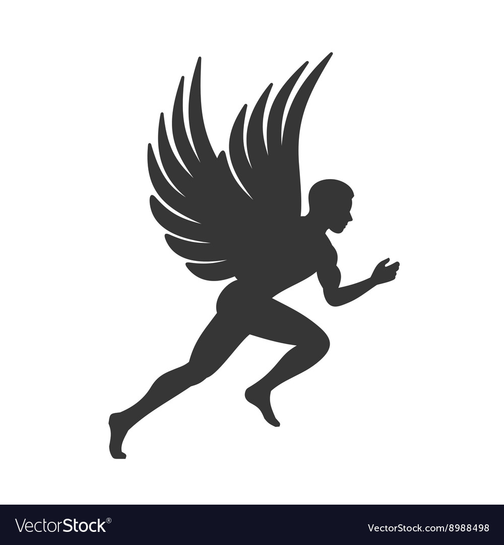 Angel Silhouette Man with Wings Sign