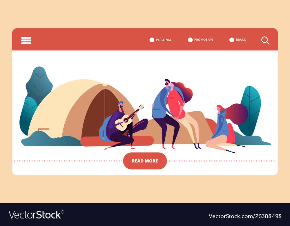 Autumn forest camp web page template