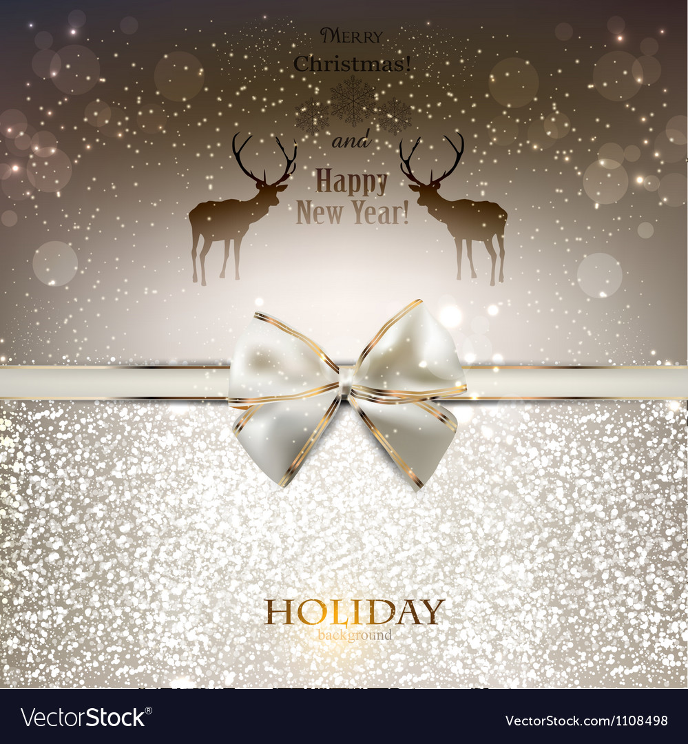 Elegant greeting card with white bow and copy