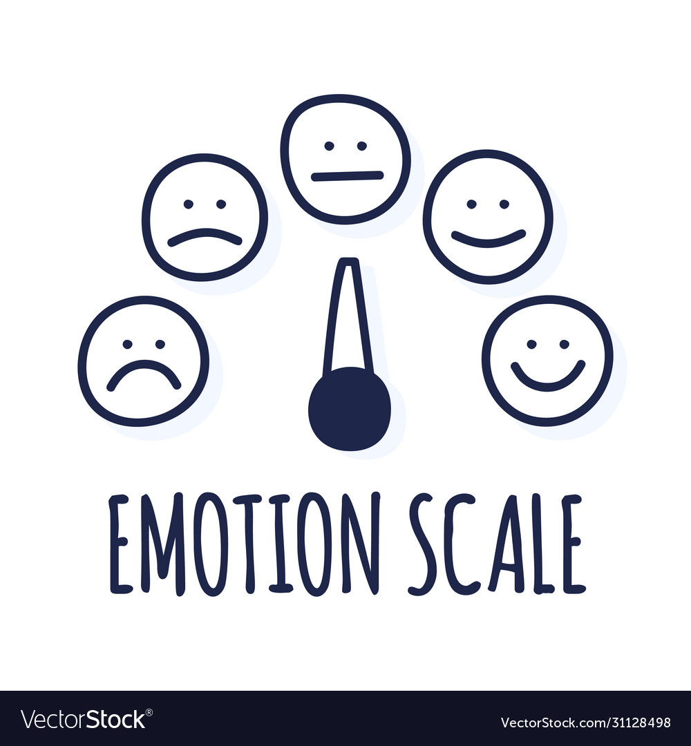 Feedback or rating scale with smiles representing