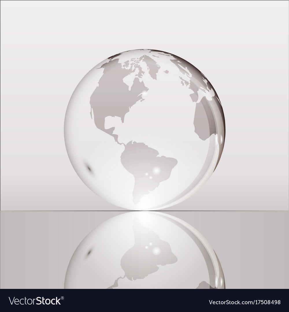 Gray shining transparent earth globe