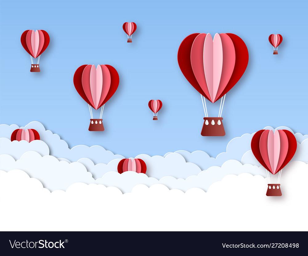 Heart air balloon paper cut hot air balloons