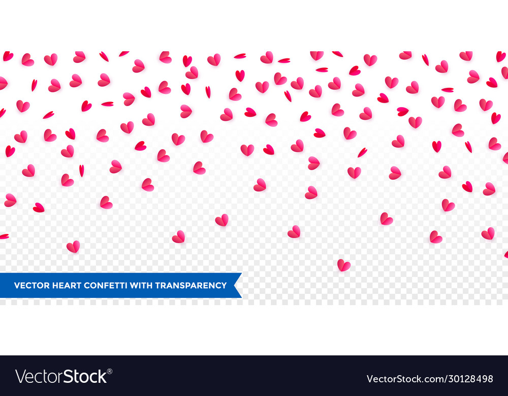 Hearts confetti pattern background for valentines