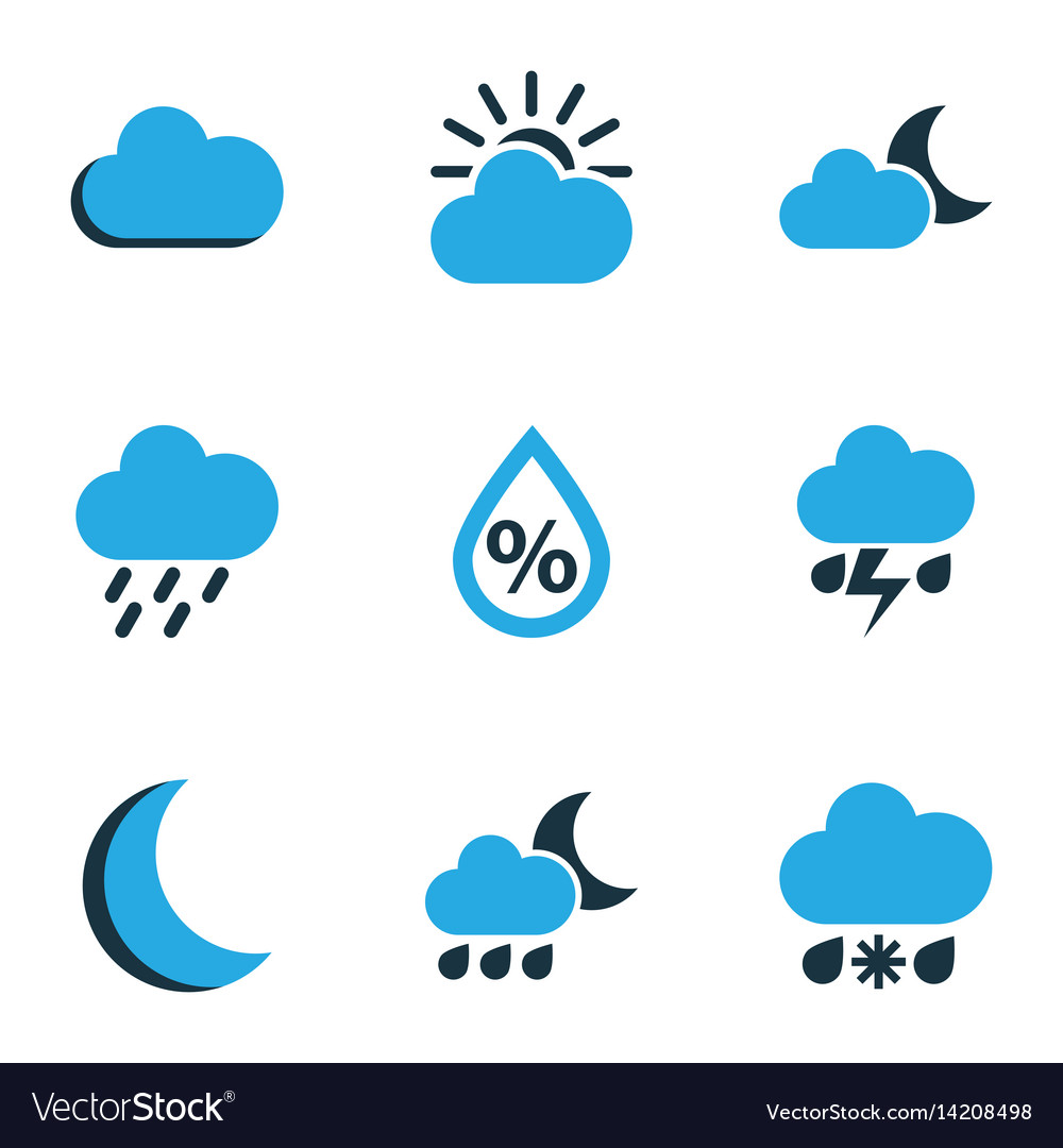 Meteorology colored icons set collection of