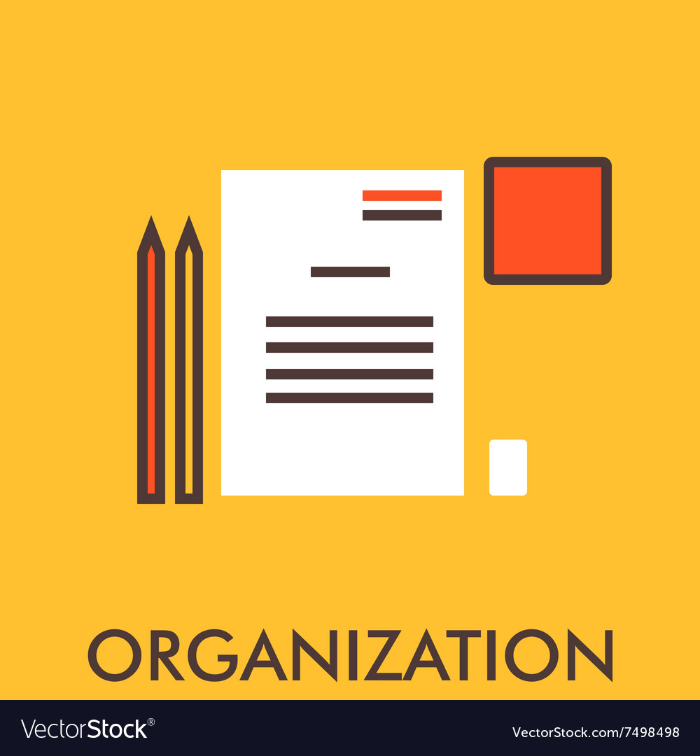 Organization Paper PenLine icon with flat