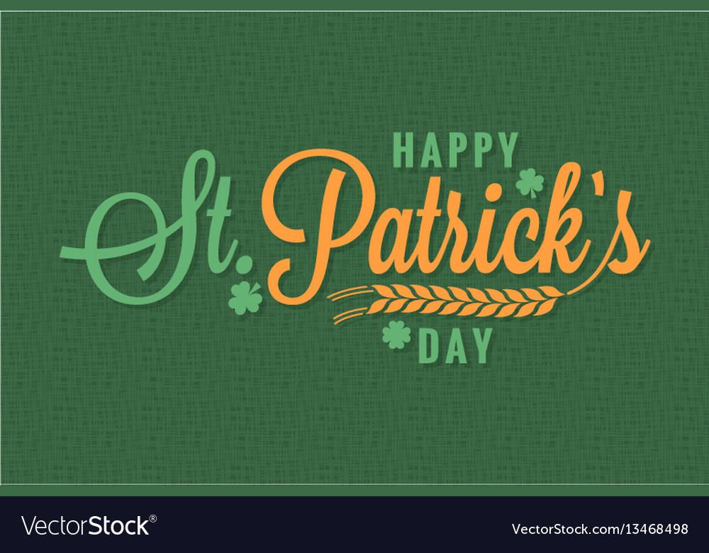 Patrick day vintage banner lettering background