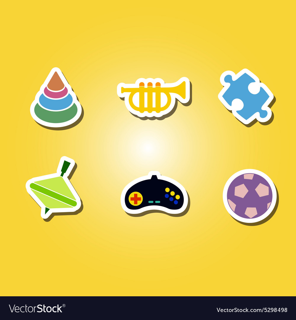 Set of color icons with toys