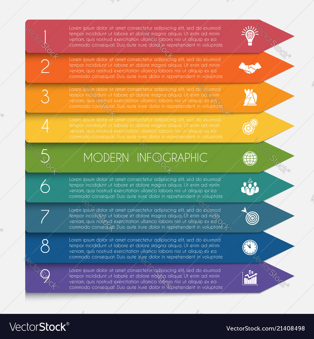 Template infographic horizontal colorful arrows