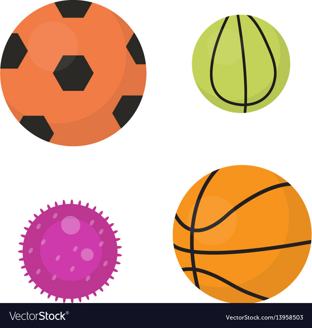 Balls set icons flat cartoon style collection