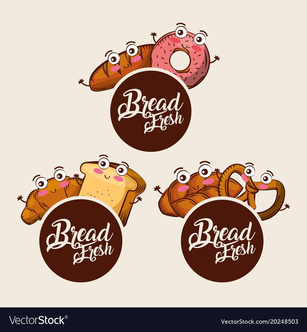 Bread fresh kawaii set food croissant donut