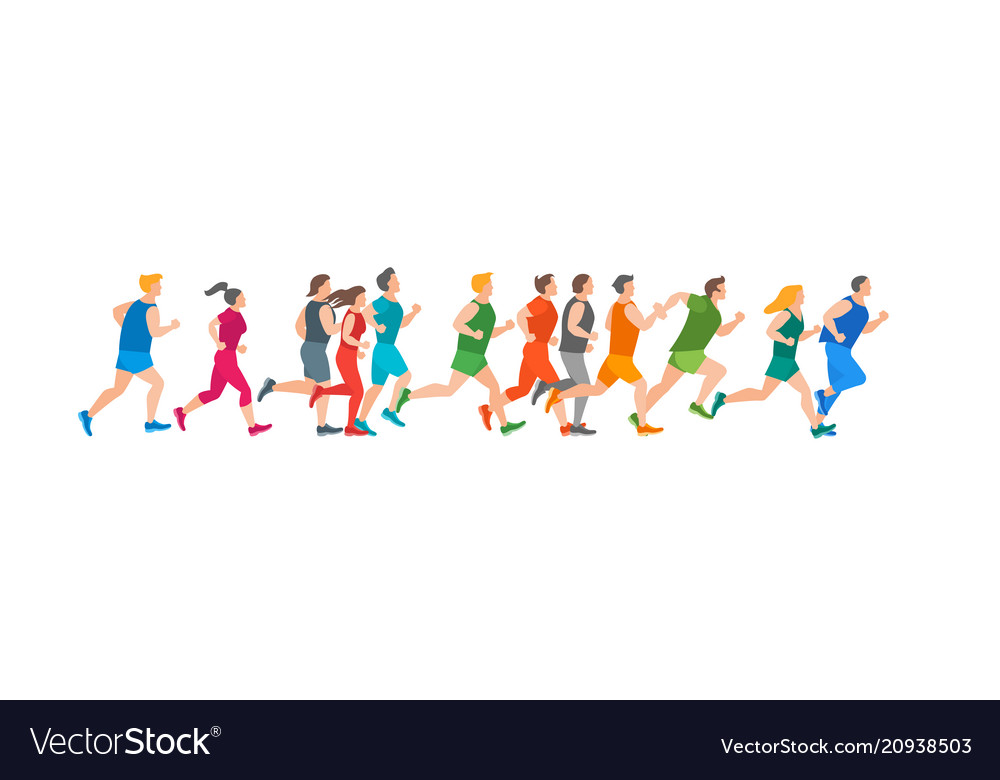 Cartoon jogging characters people