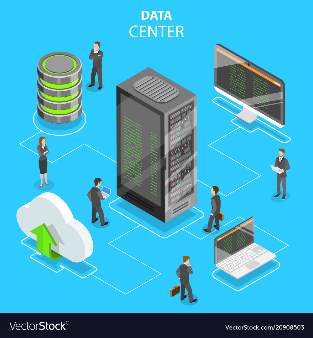 Data center flat isometric concept