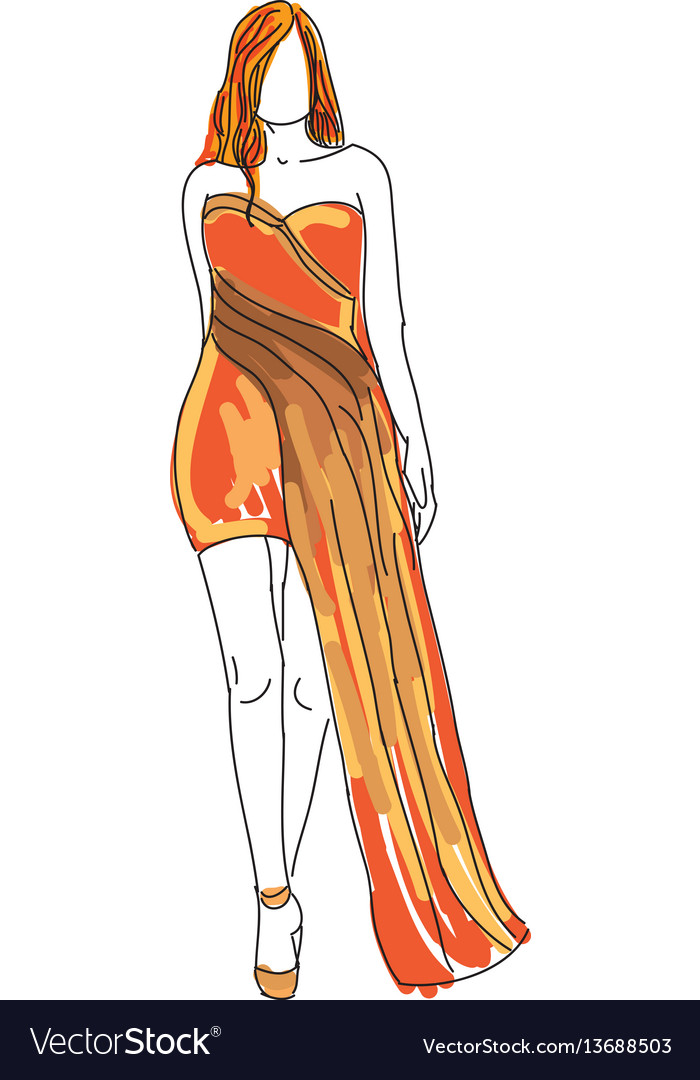 Drawn woman in orange evening dress