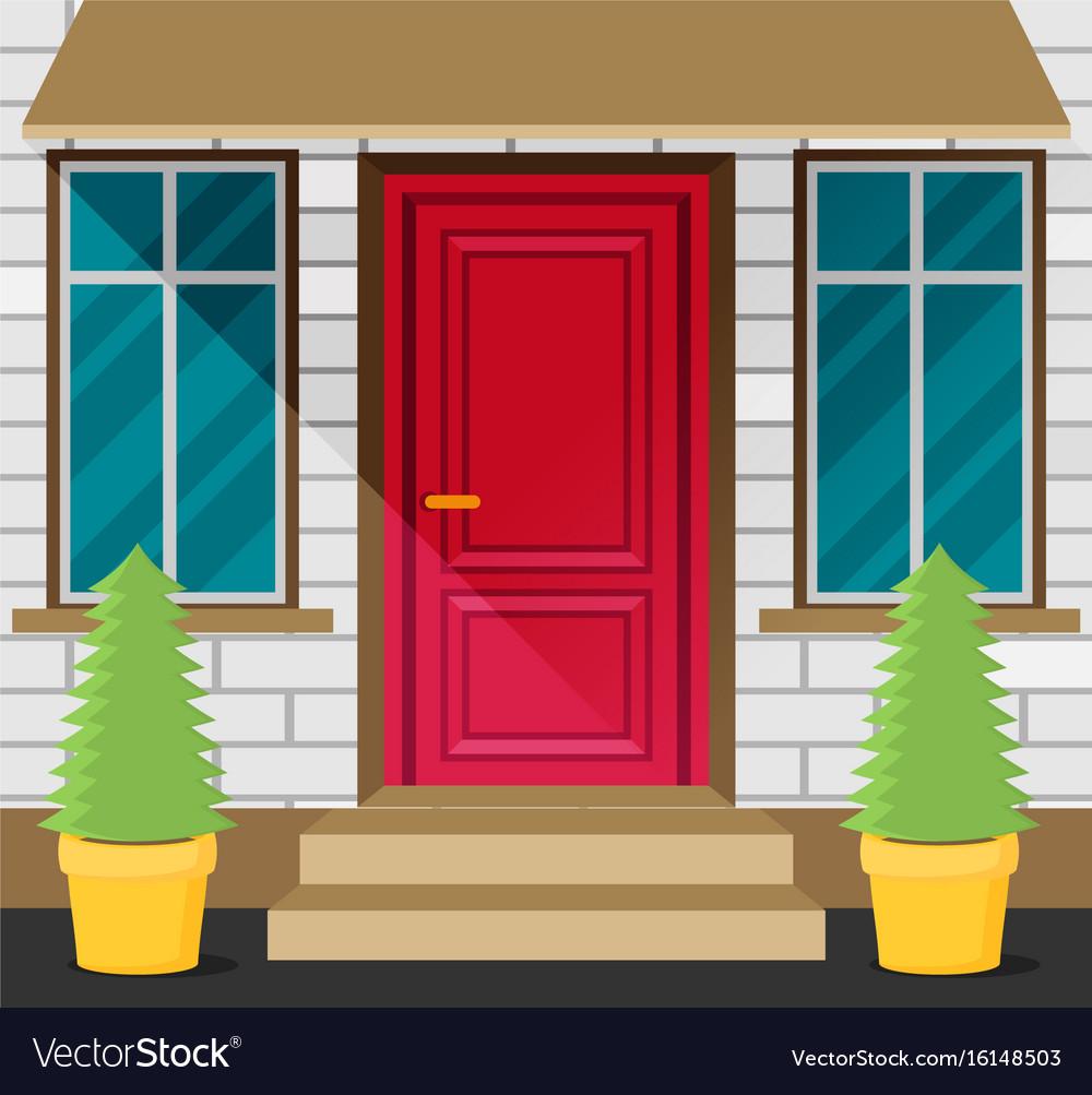 Front Door House Exterior Flat Royalty Free Vector Image