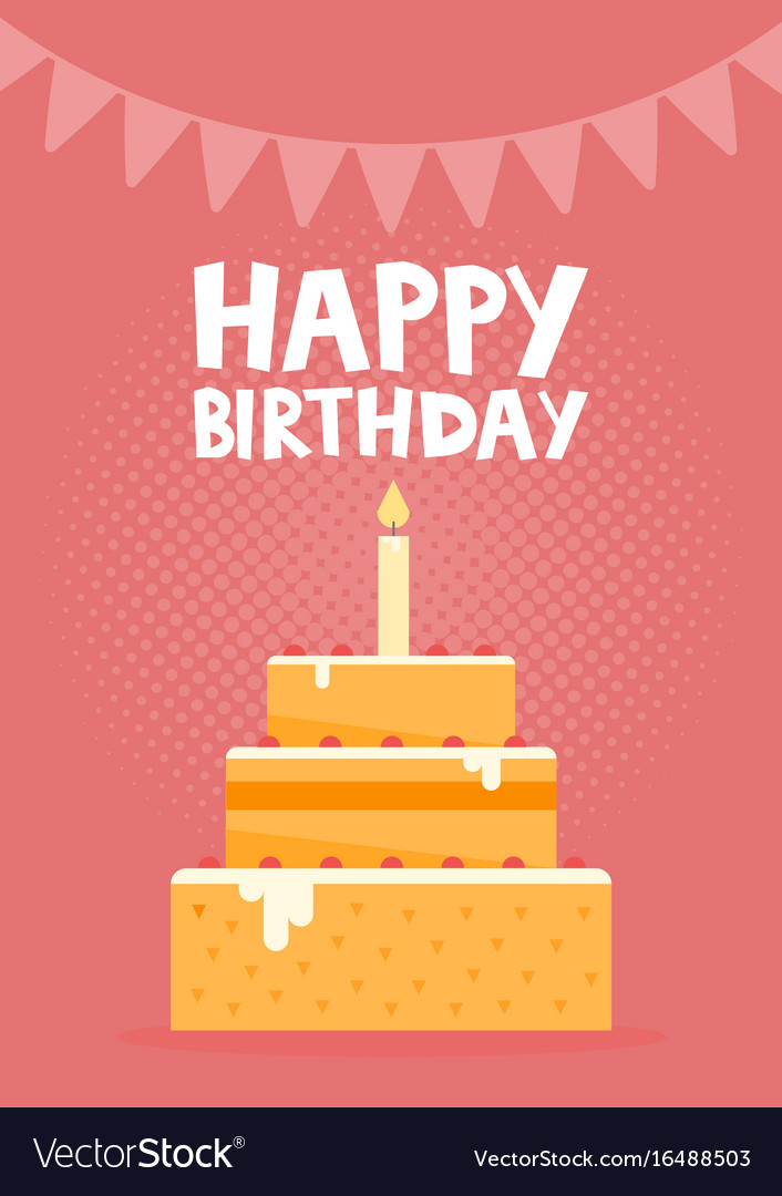 Happy Birthday Card Design With Cake Royalty Free Vector