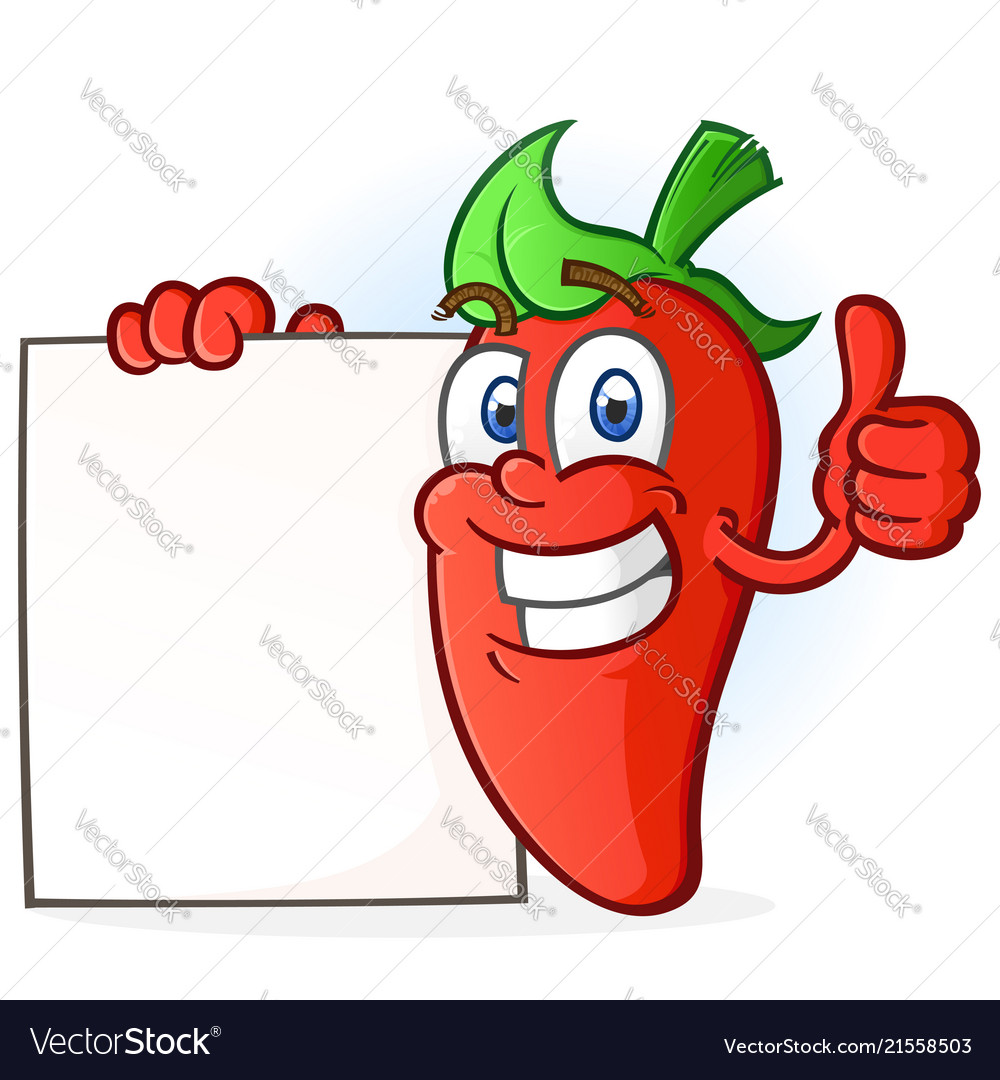 Hot pepper cartoon character holding a blank sign