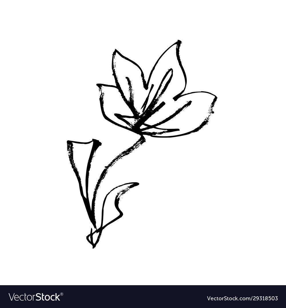 Japanese flower blossom hand drawn ink art