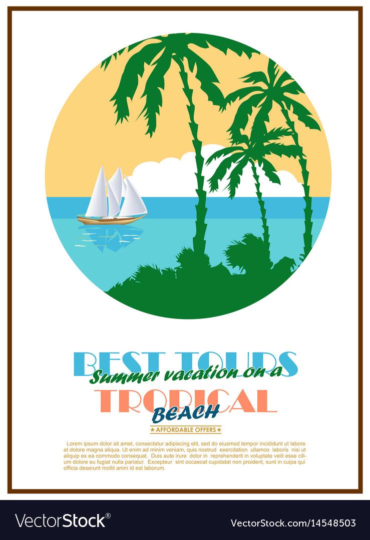 Retro seaside view minimalistic advertising poster