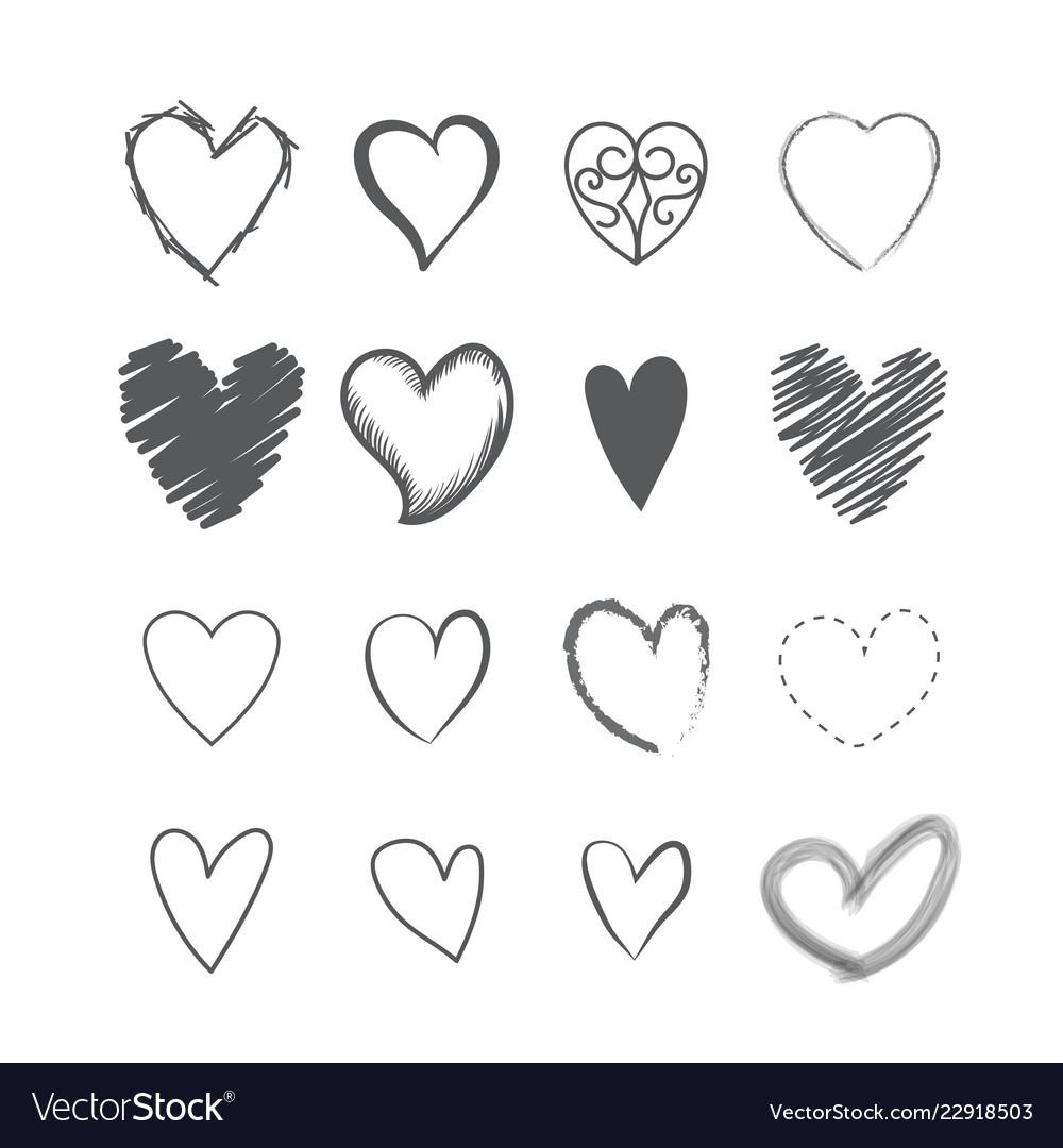 Set heart shape hands drawn icons