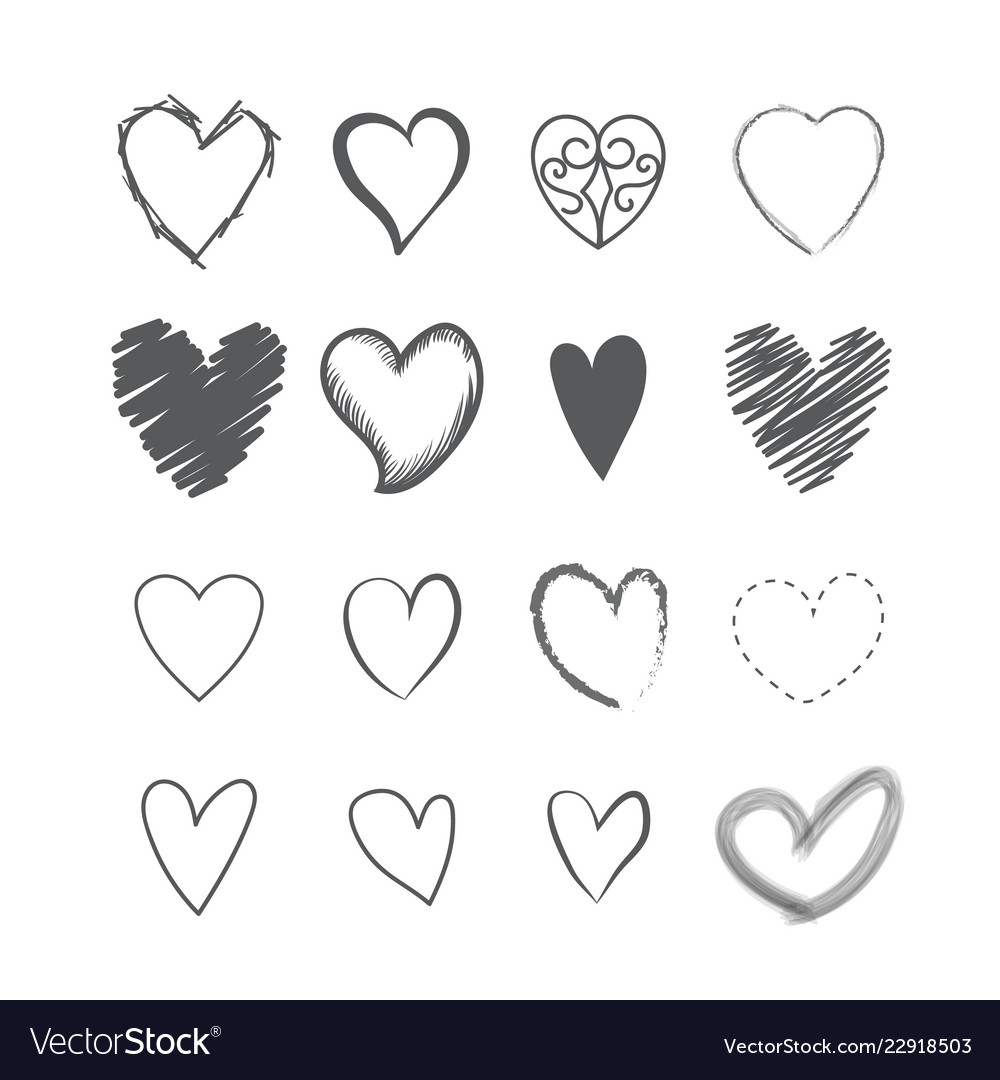 Set of heart shape hands drawn icons