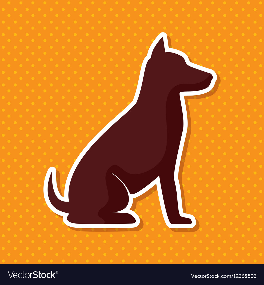 Silhouette dog sit yellow dot background