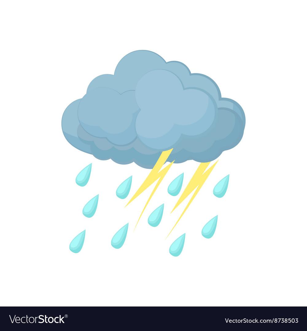 Thunderstorm cloud icon cartoon style