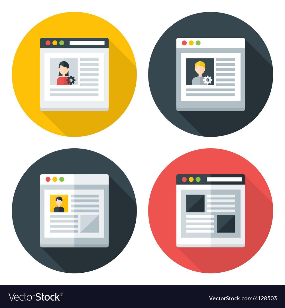 Web page flat circle icons set