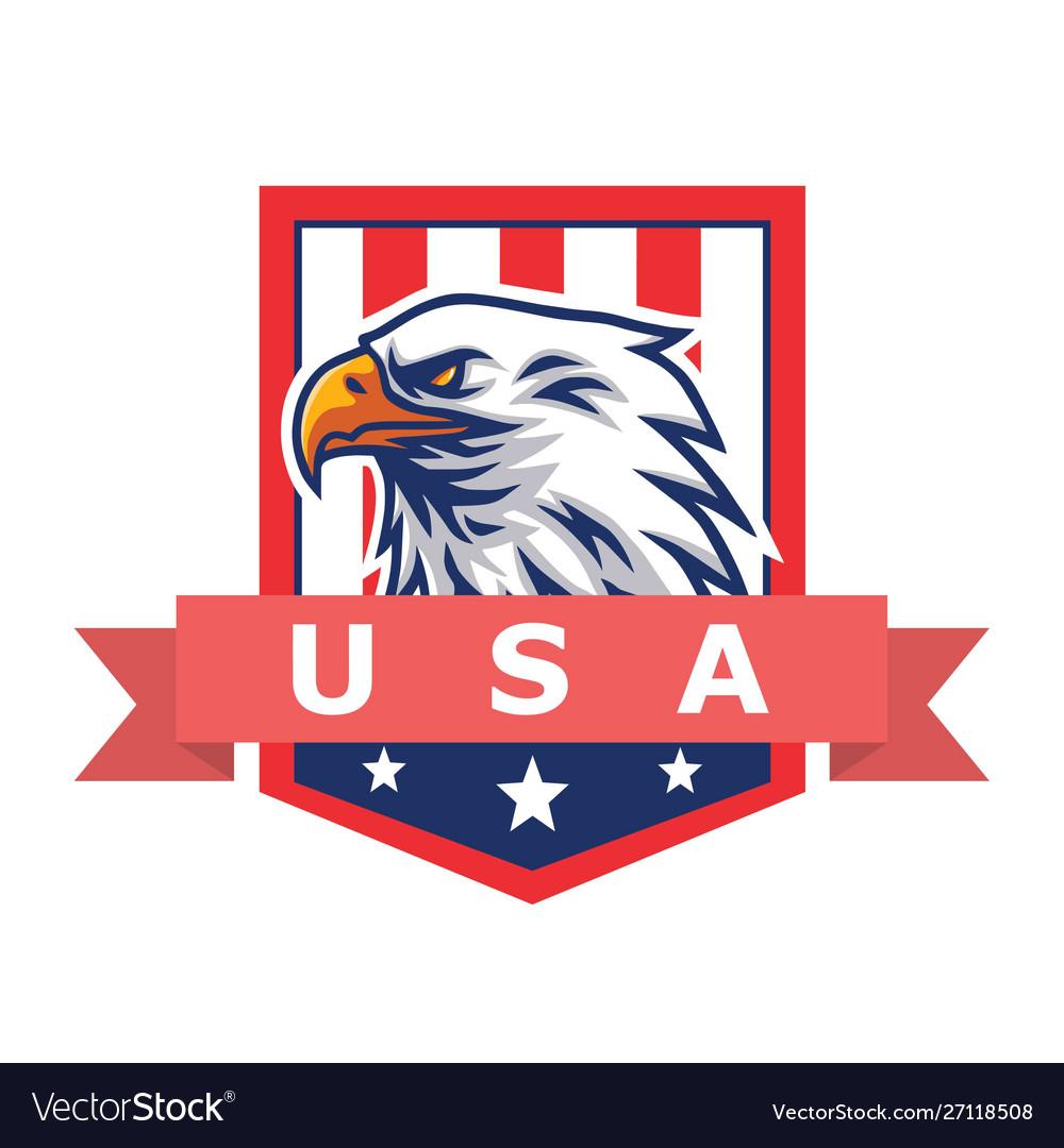American eagle logo mascot flag background