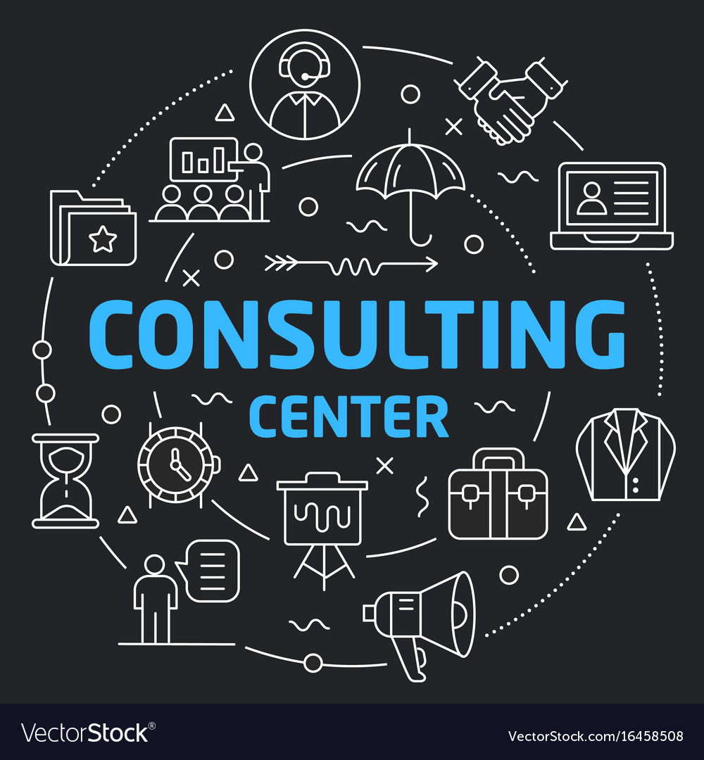 Black line flat circle consulting