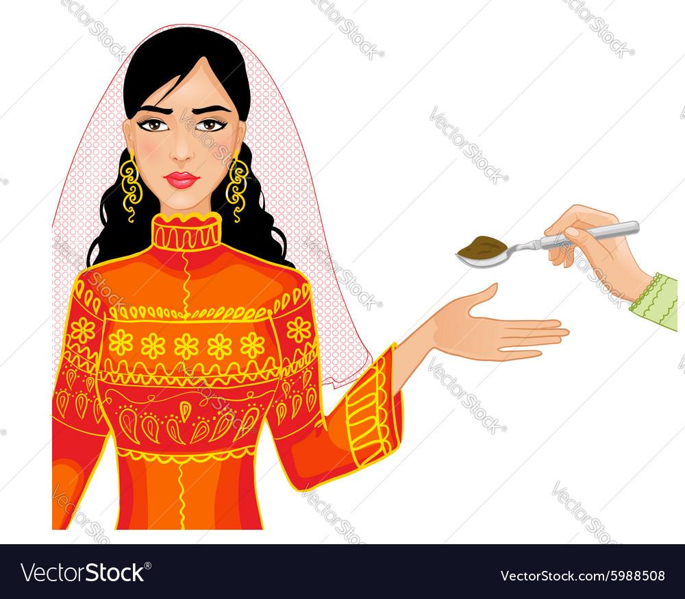 Ceremony at henna night vector image