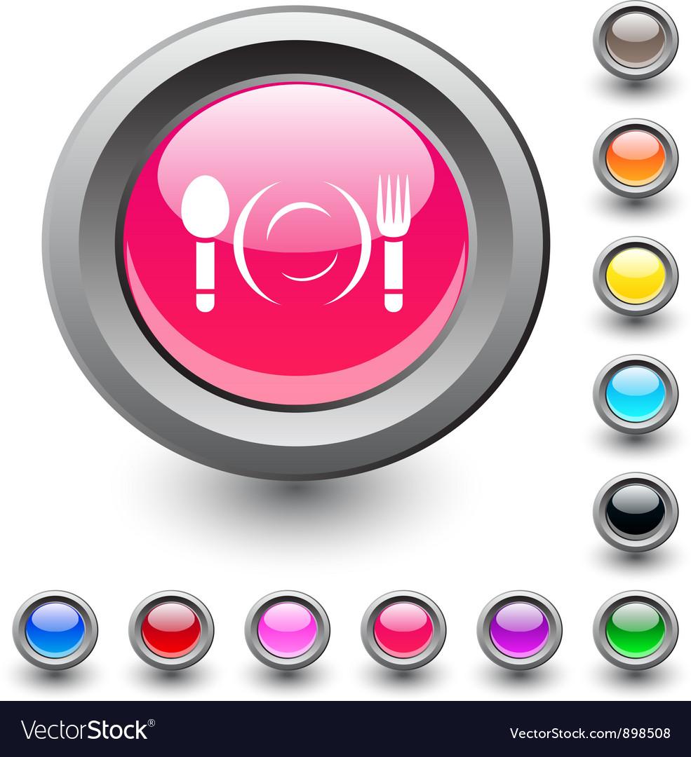 Dinner round button vector image