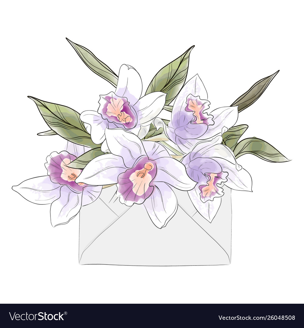 Flower letter with watercolor orchids elegant