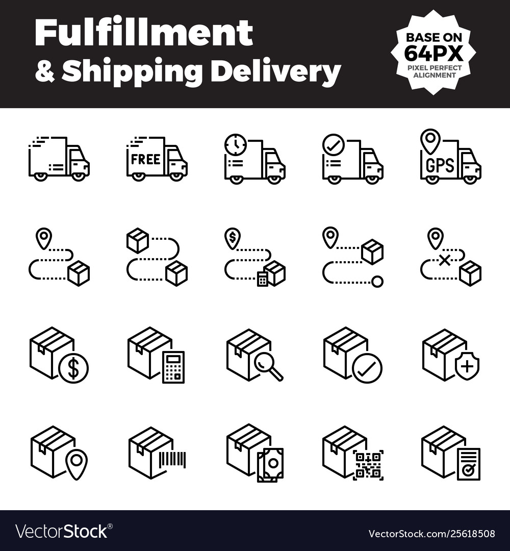 Fulfillment and shipping delivery outline icons