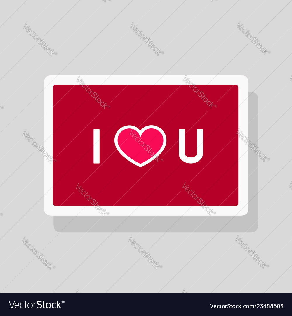 Greeting card i love you with text and heart