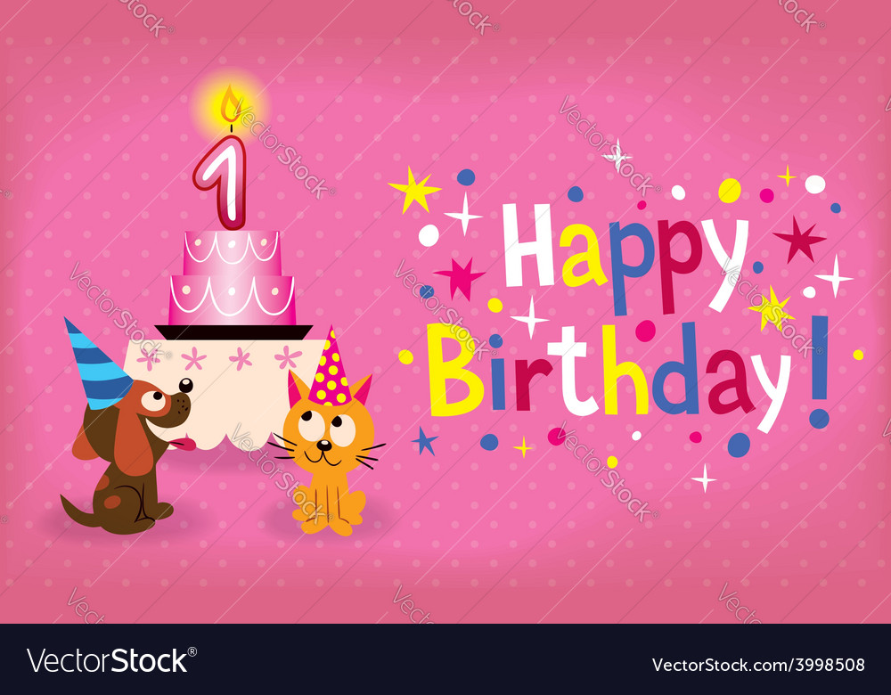 Happy First Birthday Card Royalty Free Vector Image