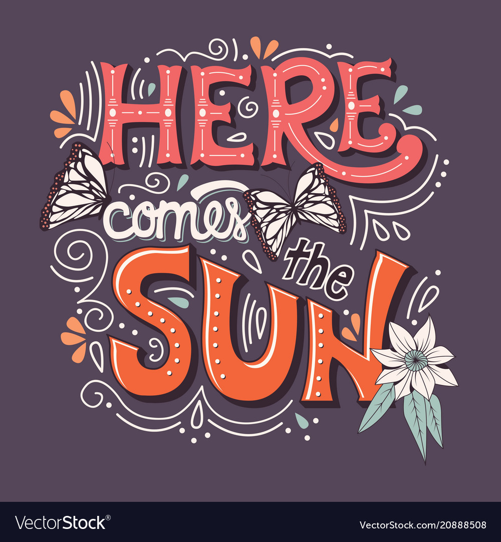 Here comes the sun typography banner