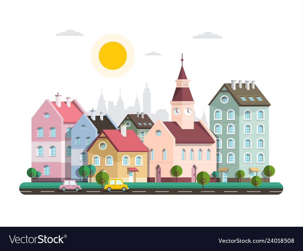 Houses in city flat design architecture buildings