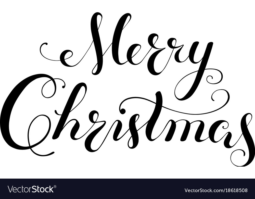 Christmas Calligraphy.Merry Christmas Calligraphy Lettering Template