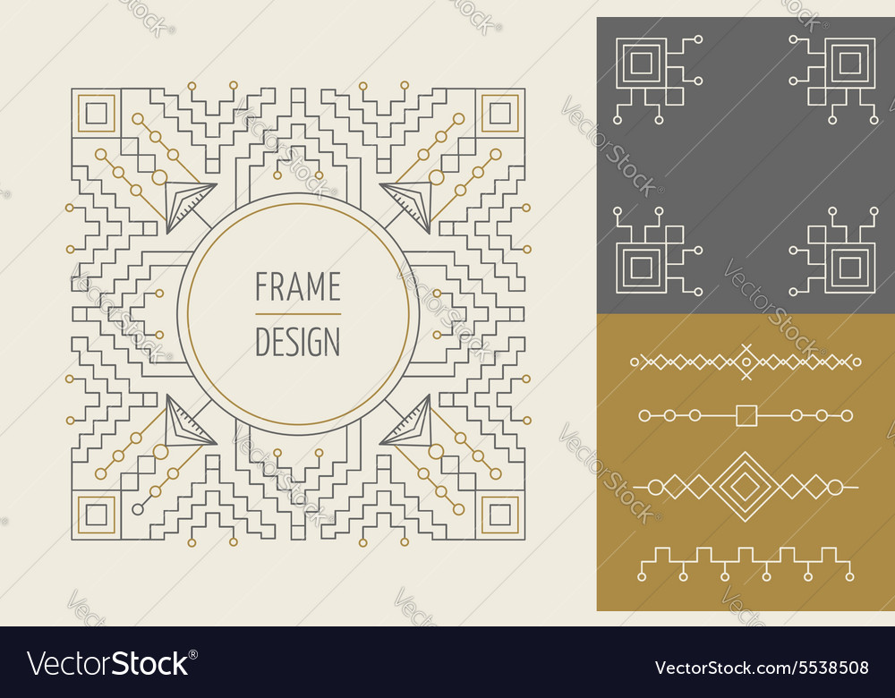 Retro vintage set line monogram frame design