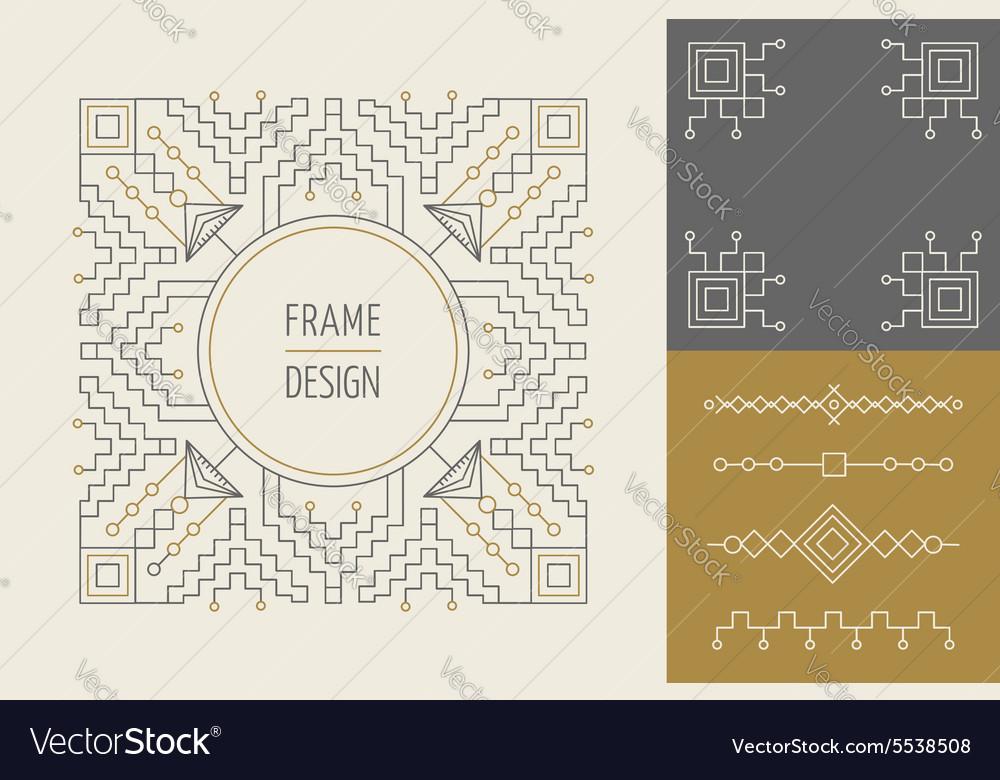 Retro vintage set of line monogram frame design