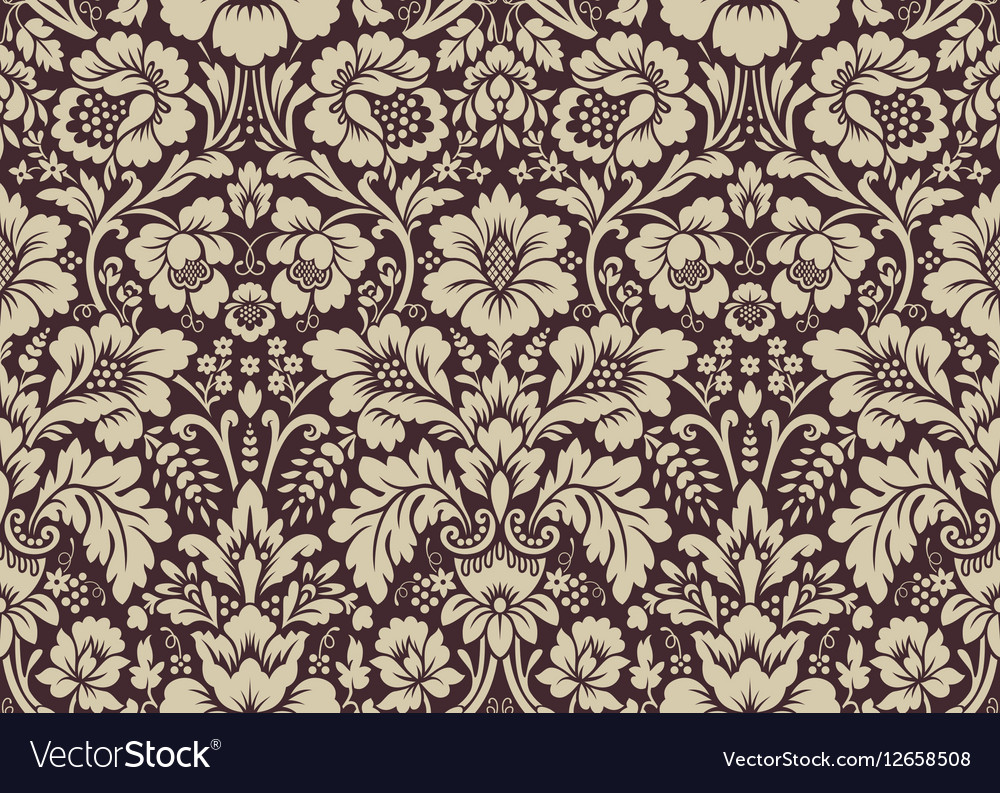 seamless floral damask pattern royalty free vector image