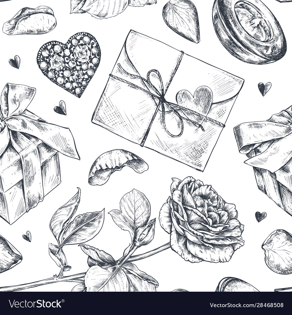 Seamless pattern with hand drawn vintage valentine