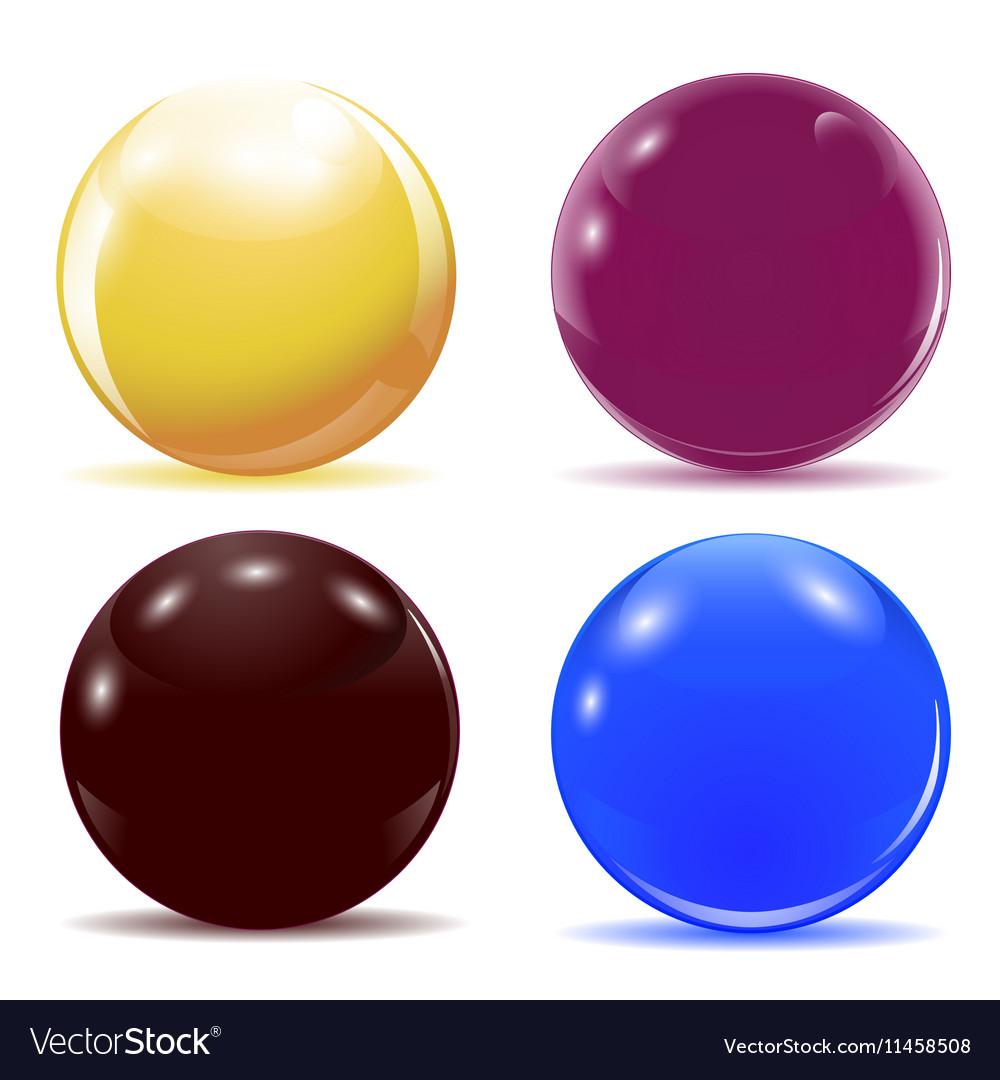 Set of multicolored glossy balls