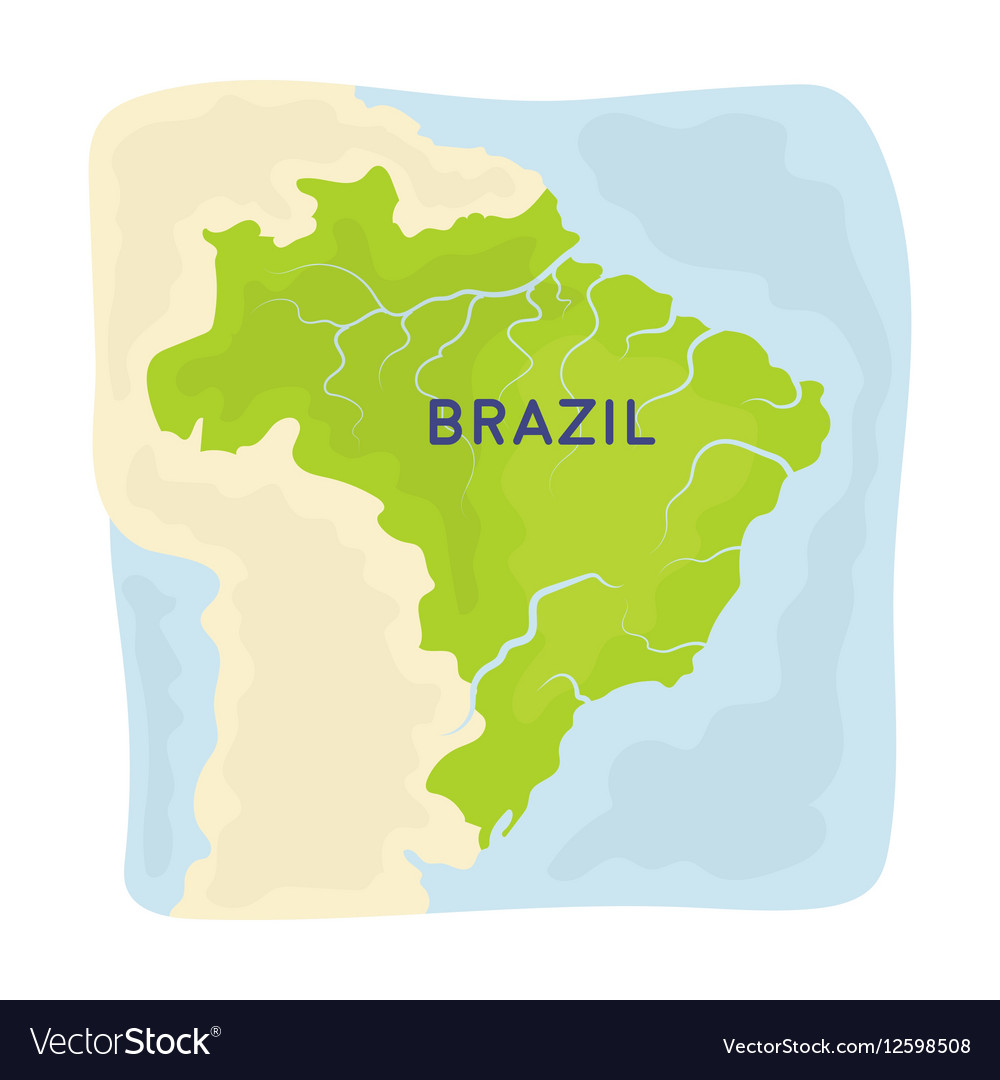 Territory of Brazil icon in cartoon style isolated