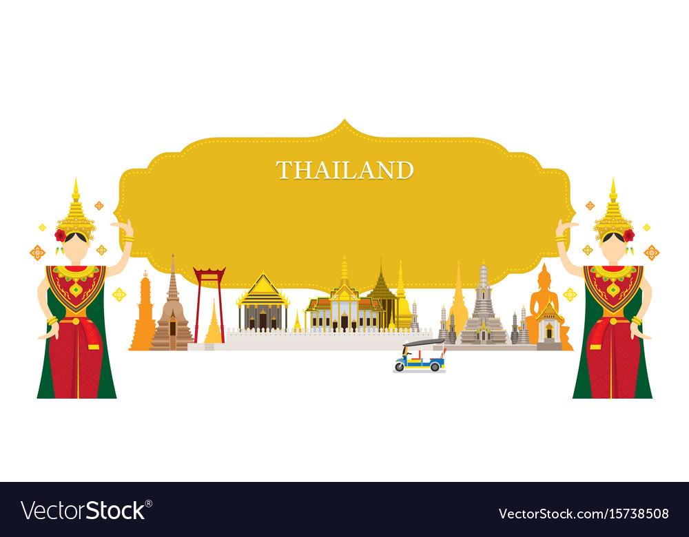 Thailand landmarks traditional dance frame vector image