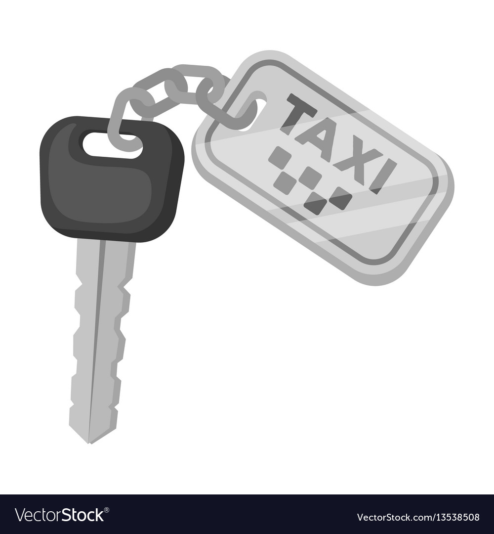 The ignition key for a yellow taxi taxi station